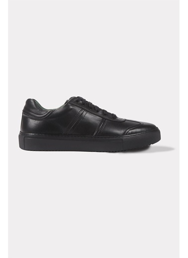 Krähe Koraki Siyah Deri Minimal Sneaker Siyah